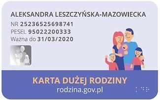 Ogólnopolska Karta Dużej Rodziny, rewers.